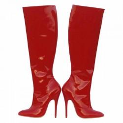 high heel leather knee boots