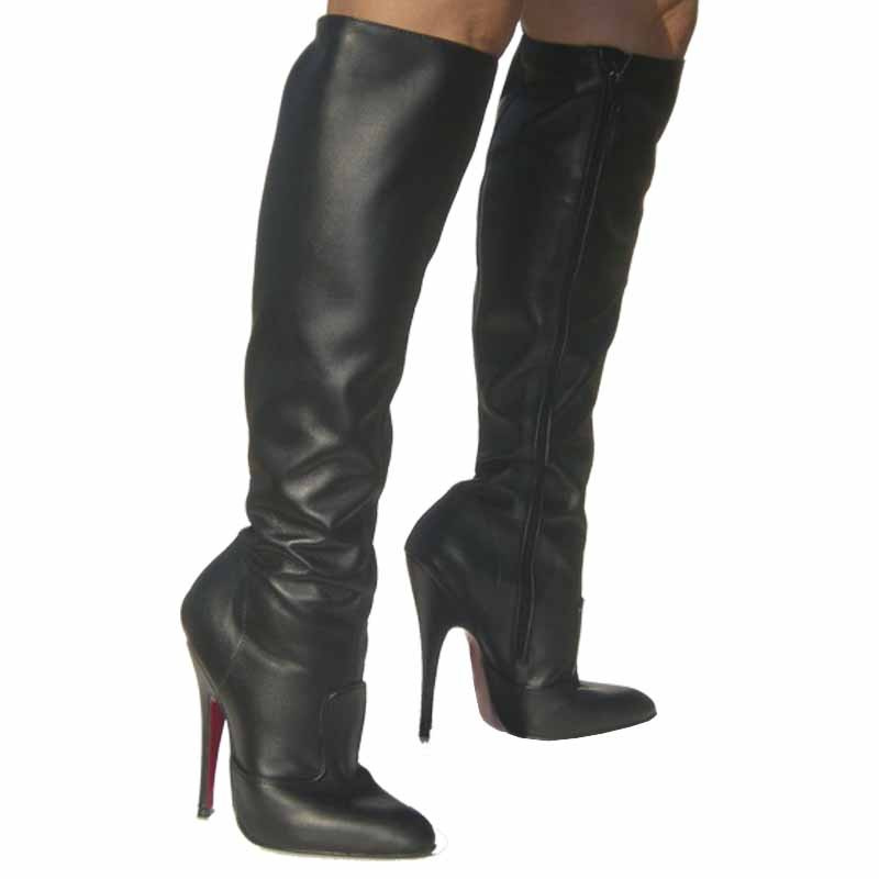Knee leather drag queen boots Miami-KPZT