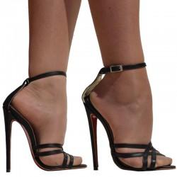 Sandalia de piel con tacon alto
