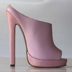 High heel leather platform sandal
