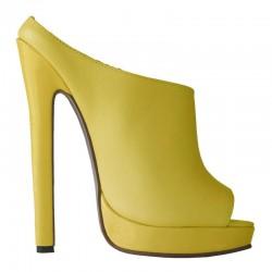 High heel leather platform sandal