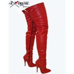 Lederabsatz Oberschenkel hohe Stiefel mit Reißverschluss