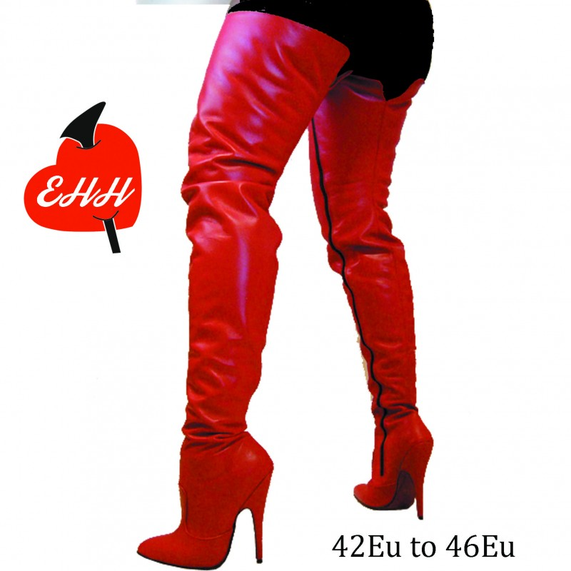 HIgh heel leather thigh high boots in big sizes