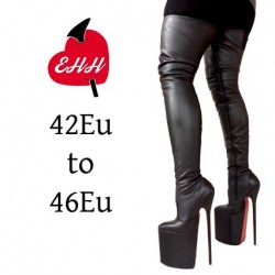 High heel thigh high platform boots big sizes