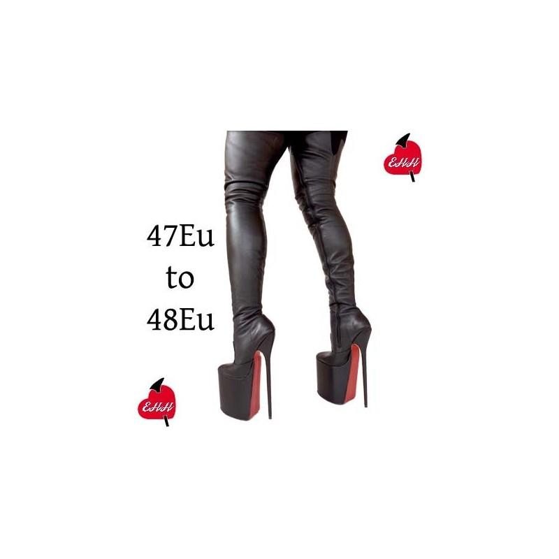 High heel thigh high platform boots extra big sizes