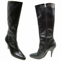 High heel leather knee boots