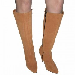 High heel leather knee boots large sizes
